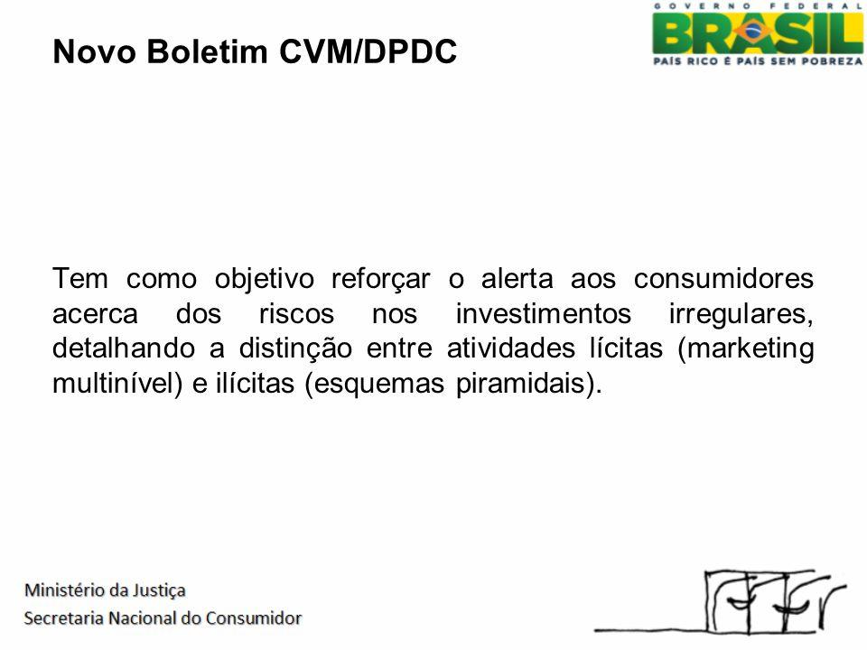 Novo Boletim CVM/DPDC Tem como objetivo reforçar o alerta aos consumidores acerca dos riscos nos investimentos irregulares, detalhando a distinção entre atividades lícitas (marketing multinível) e ilícitas (esquemas piramidais).