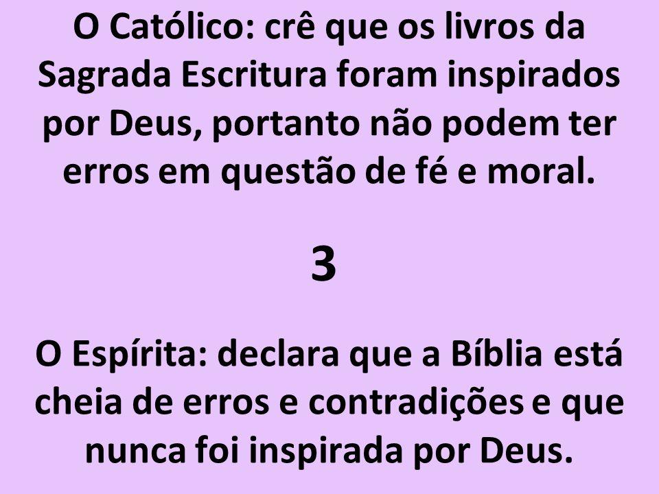 O Católico: crê que os livros da Sagrada Escritura foram inspirados por Deus, portanto não podem ter erros em questão de fé e moral.