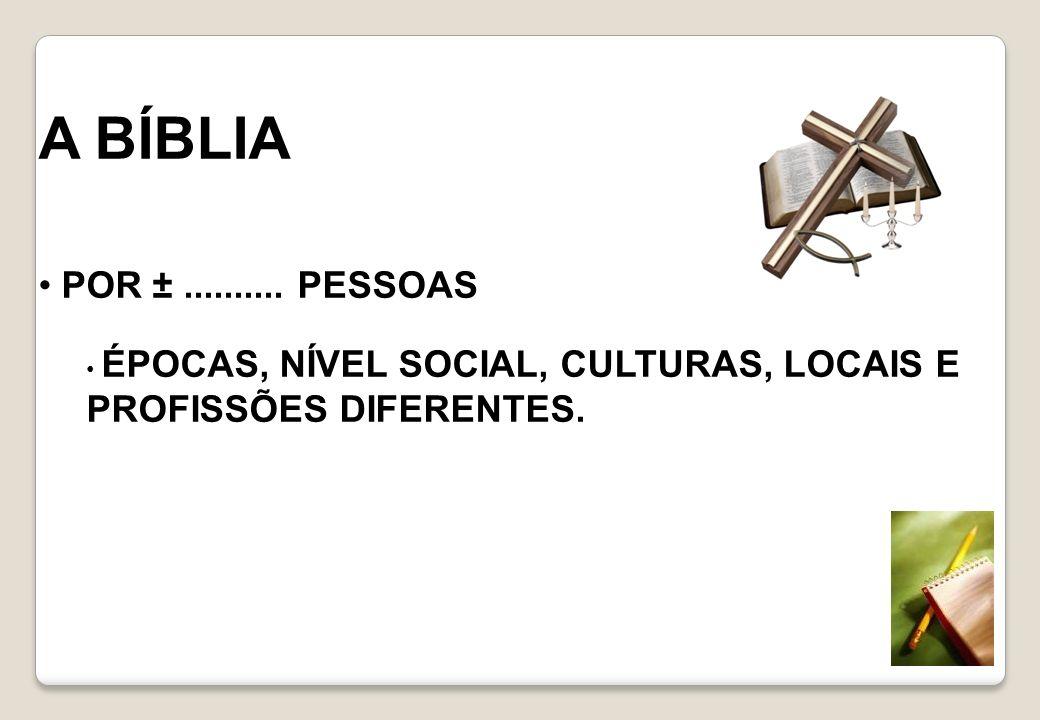 A BÍBLIA POR ±.......... PESSOAS ÉPOCAS, NÍVEL SOCIAL, CULTURAS, LOCAIS E PROFISSÕES DIFERENTES.