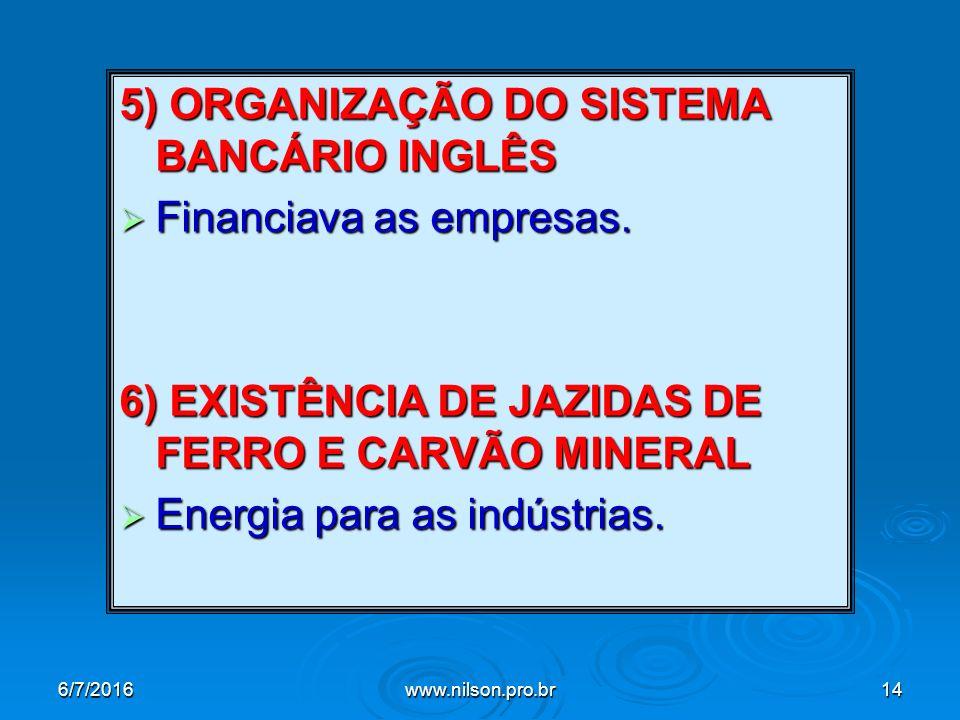 5) ORGANIZAÇÃO DO SISTEMA BANCÁRIO INGLÊS  Financiava as empresas.