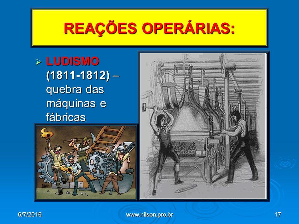 REAÇÕES OPERÁRIAS:  LUDISMO (1811-1812) – quebra das máquinas e fábricas 6/7/2016www.nilson.pro.br17