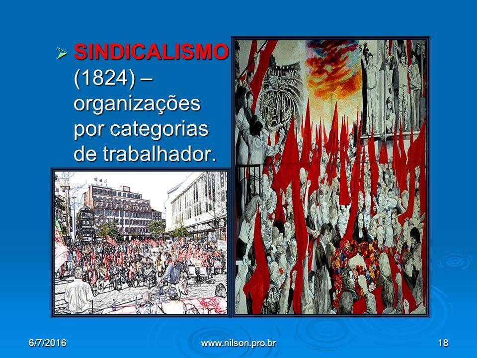  SINDICALISMO (1824) – organizações por categorias de trabalhador. 6/7/2016www.nilson.pro.br18