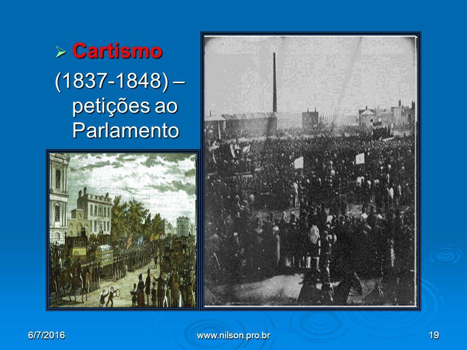  Cartismo (1837-1848) – petições ao Parlamento 6/7/2016www.nilson.pro.br19