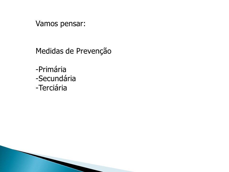 Vamos pensar: Medidas de Prevenção -Primária -Secundária -Terciária