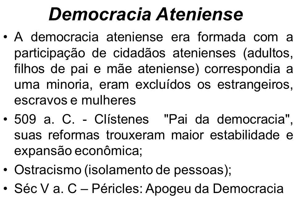 Democracia Ateniense A democracia ateniense era formada com a participação de cidadãos atenienses (adultos, filhos de pai e mãe ateniense) correspondia a uma minoria, eram excluídos os estrangeiros, escravos e mulheres 509 a.