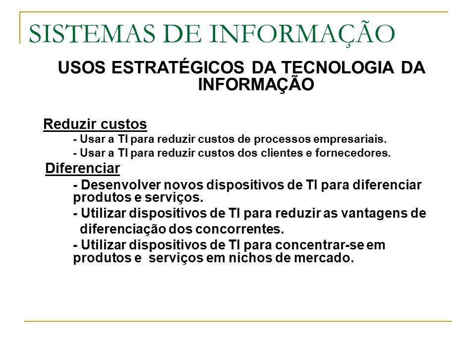 SISTEMAS DE INFORMAÇÃO USOS ESTRATÉGICOS DA TECNOLOGIA DA INFORMAÇÃO Reduzir custos - Usar a TI para reduzir custos de processos empresariais.