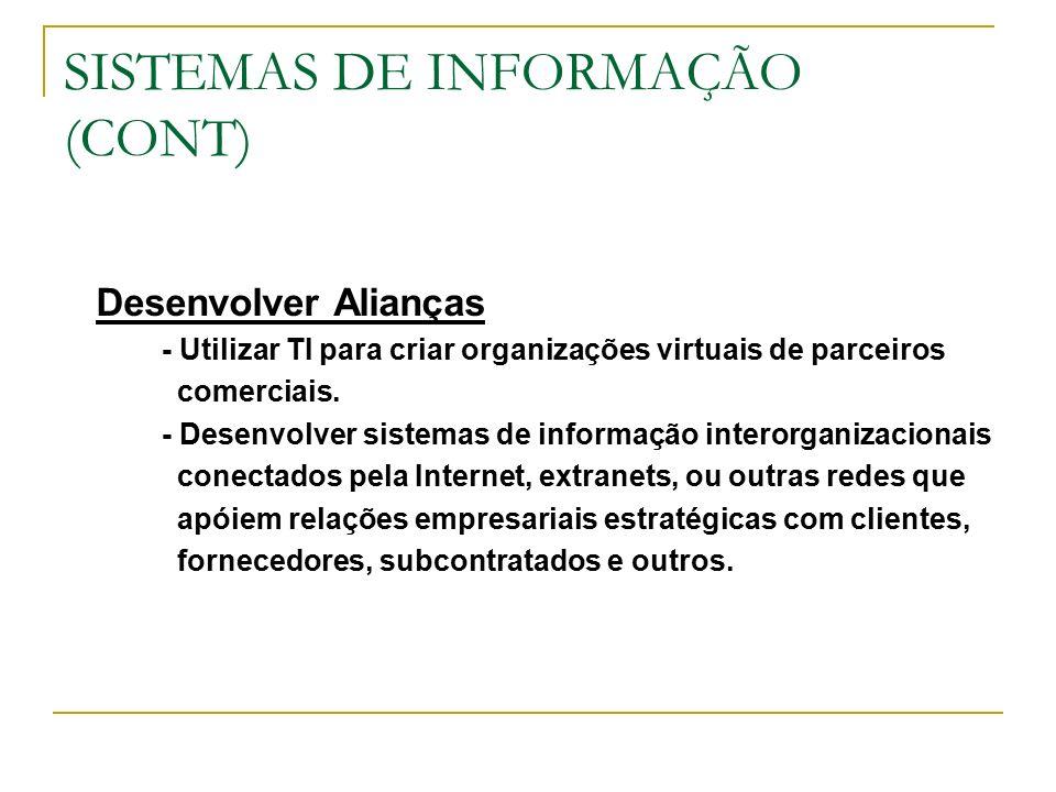 SISTEMAS DE INFORMAÇÃO (CONT) Desenvolver Alianças - Utilizar TI para criar organizações virtuais de parceiros comerciais.