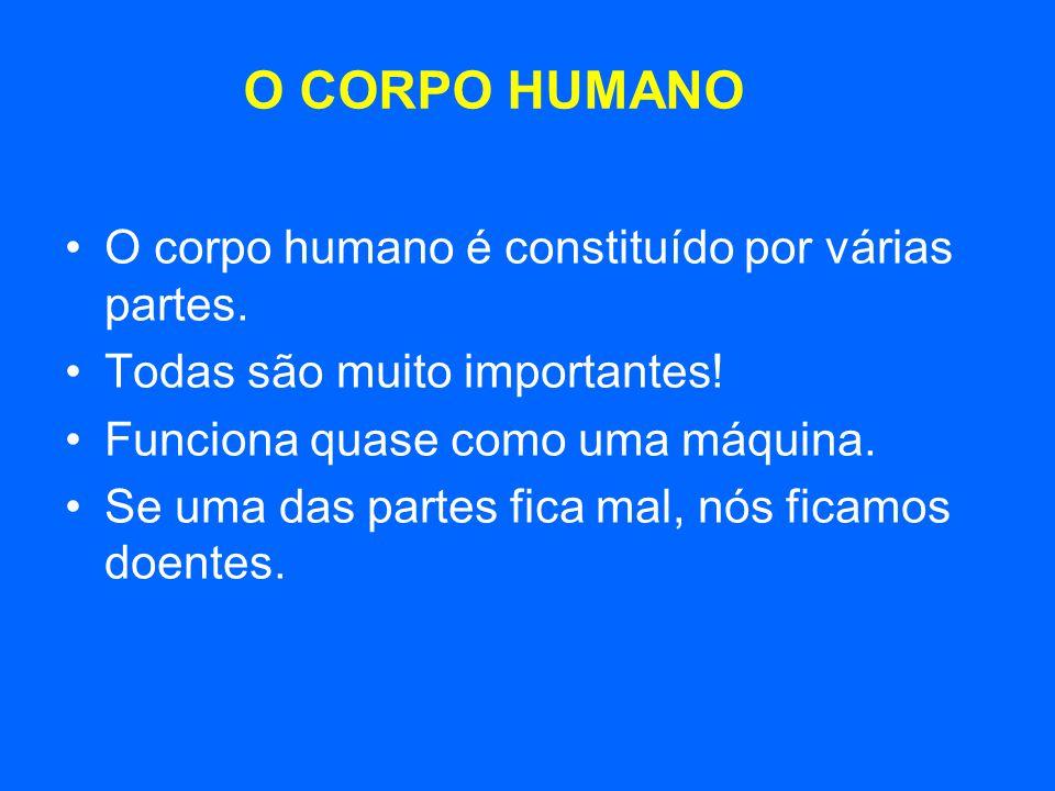 O corpo humano é constituído por várias partes. Todas são muito importantes! Funciona quase como uma máquina. Se uma das partes fica mal, nós ficamos