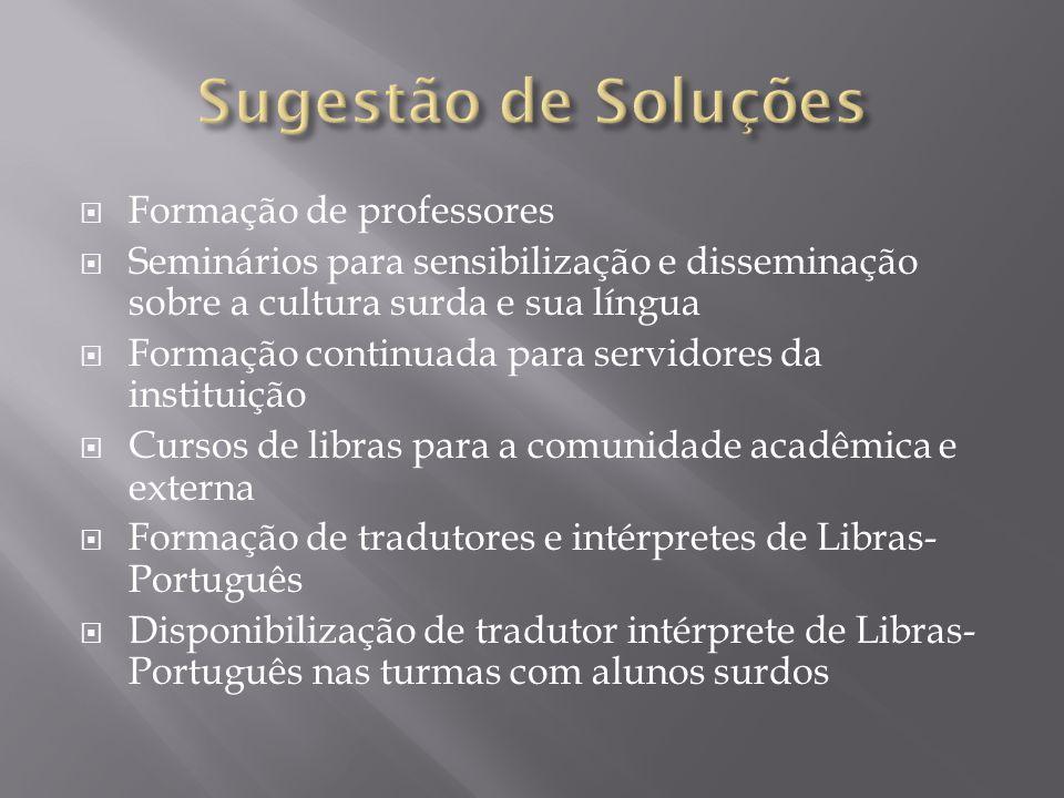 Formação de professores Seminários para sensibilização e disseminação sobre a cultura surda e sua língua Formação continuada para servidores da instit
