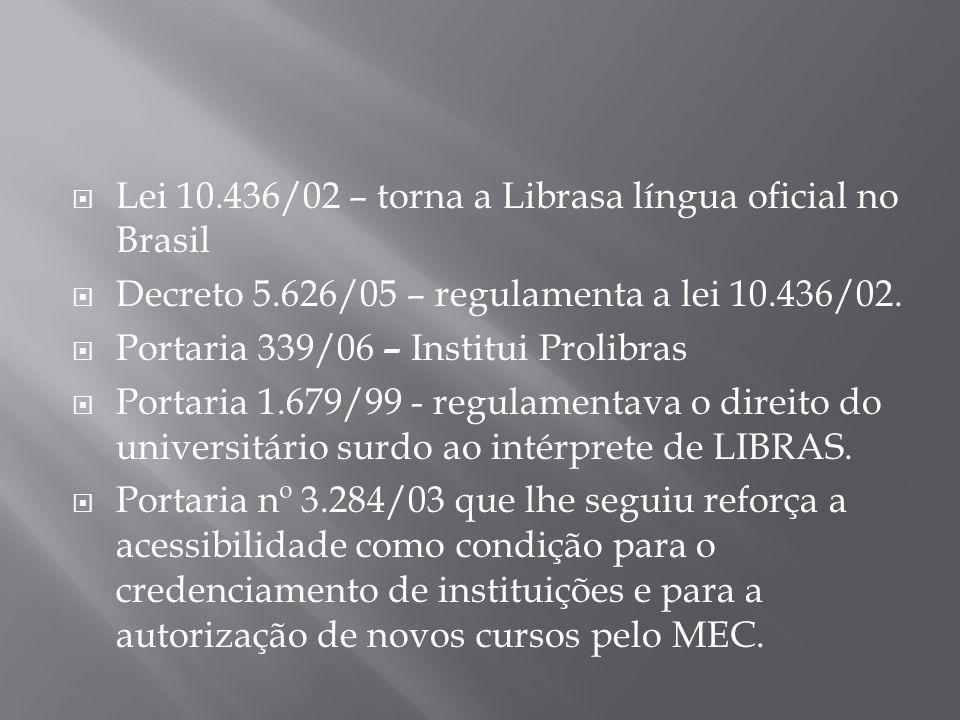 Lei 10.436/02 – torna a Librasa língua oficial no Brasil Decreto 5.626/05 – regulamenta a lei 10.436/02. Portaria 339/06 – Institui Prolibras Portaria