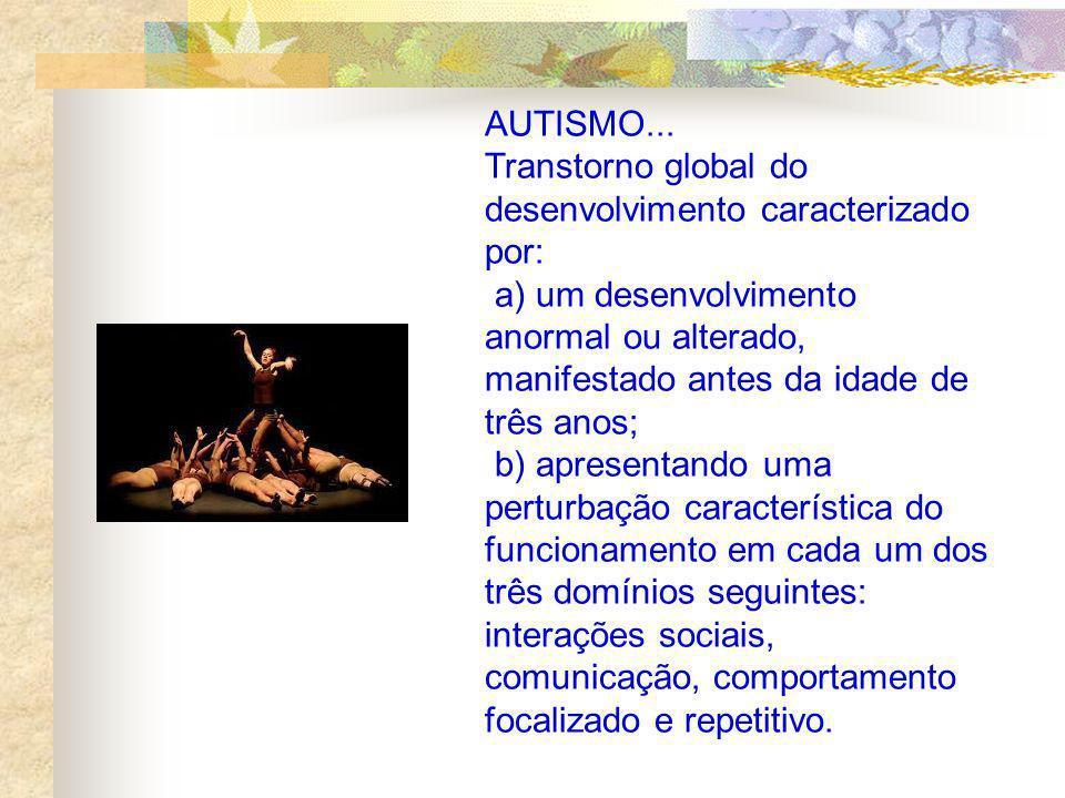 AUTISMO... Transtorno global do desenvolvimento caracterizado por: a) um desenvolvimento anormal ou alterado, manifestado antes da idade de três anos;