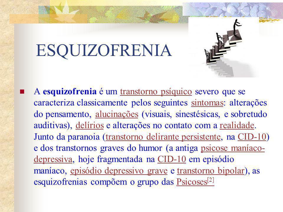 ESQUIZOFRENIA A esquizofrenia é um transtorno psíquico severo que se caracteriza classicamente pelos seguintes sintomas: alterações do pensamento, alu