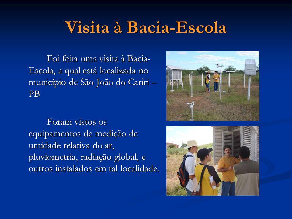 Visita à Bacia-Escola Foi feita uma visita à Bacia- Escola, a qual está localizada no município de São João do Cariri – PB Foram vistos os equipamento
