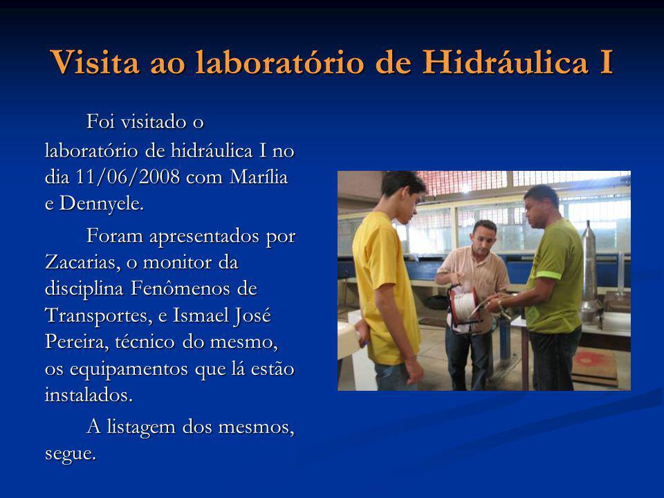 Visita ao laboratório de Hidráulica I Foi visitado o laboratório de hidráulica I no dia 11/06/2008 com Marília e Dennyele. Foram apresentados por Zaca
