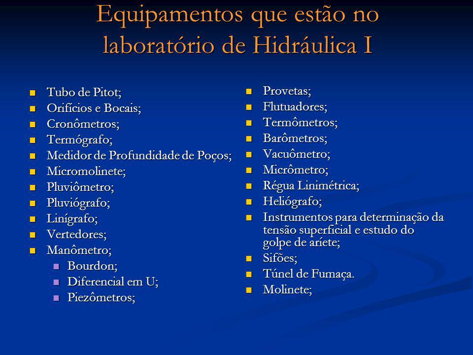 Equipamentos que estão no laboratório de Hidráulica I Tubo de Pitot; Tubo de Pitot; Orifícios e Bocais; Orifícios e Bocais; Cronômetros; Cronômetros;