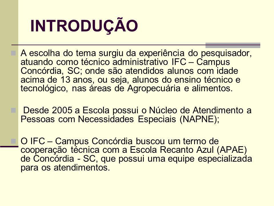 INTRODUÇÃO A escolha do tema surgiu da experiência do pesquisador, atuando como técnico administrativo IFC – Campus Concórdia, SC; onde são atendidos