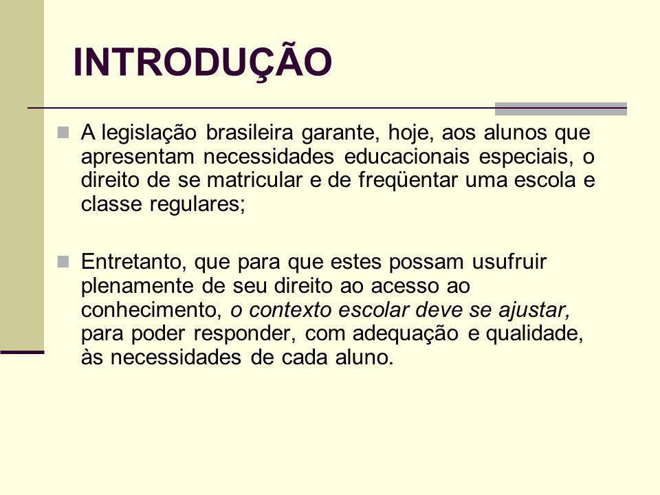 INTRODUÇÃO A legislação brasileira garante, hoje, aos alunos que apresentam necessidades educacionais especiais, o direito de se matricular e de freqü