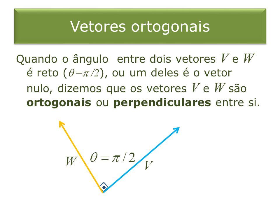 Vetores ortogonais Quando o ângulo entre dois vetores V e W é reto ( = /2 ), ou um deles é o vetor nulo, dizemos que os vetores V e W são ortogonais o