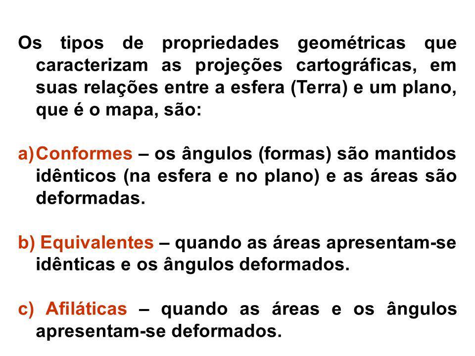 Os tipos de propriedades geométricas que caracterizam as projeções cartográficas, em suas relações entre a esfera (Terra) e um plano, que é o mapa, sã