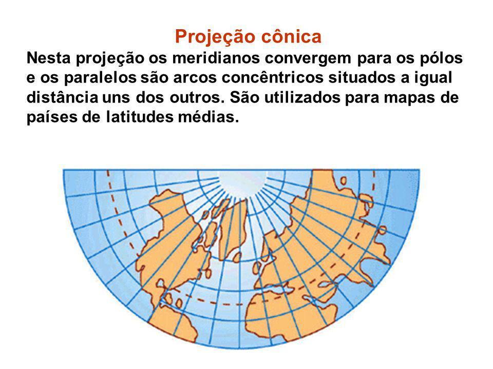 Projeção cônica Nesta projeção os meridianos convergem para os pólos e os paralelos são arcos concêntricos situados a igual distância uns dos outros.