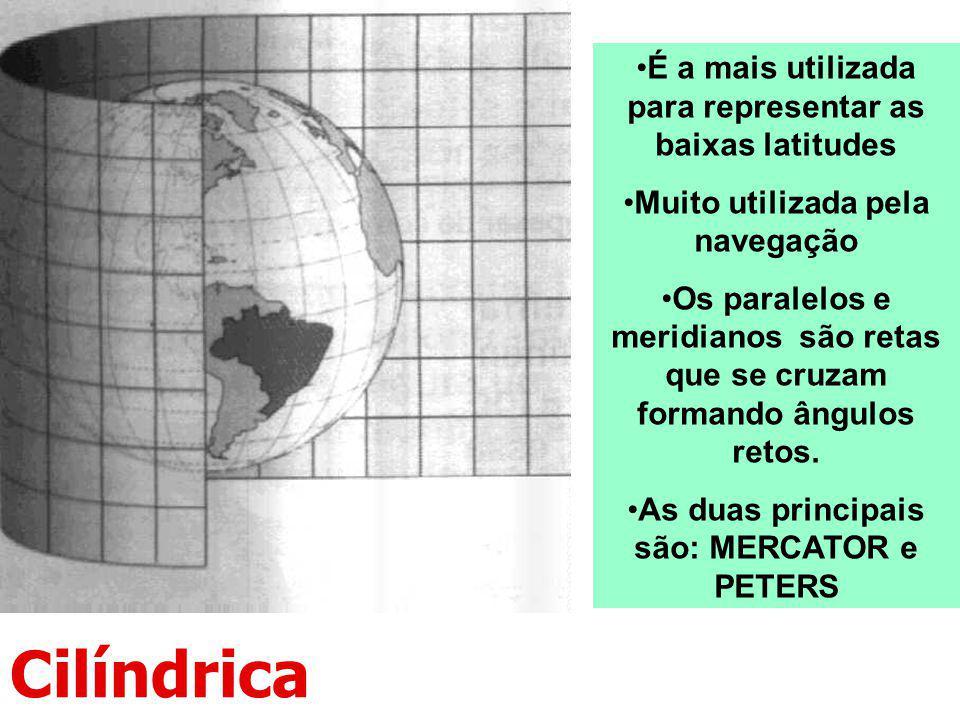Cilíndrica É a mais utilizada para representar as baixas latitudes Muito utilizada pela navegação Os paralelos e meridianos são retas que se cruzam fo