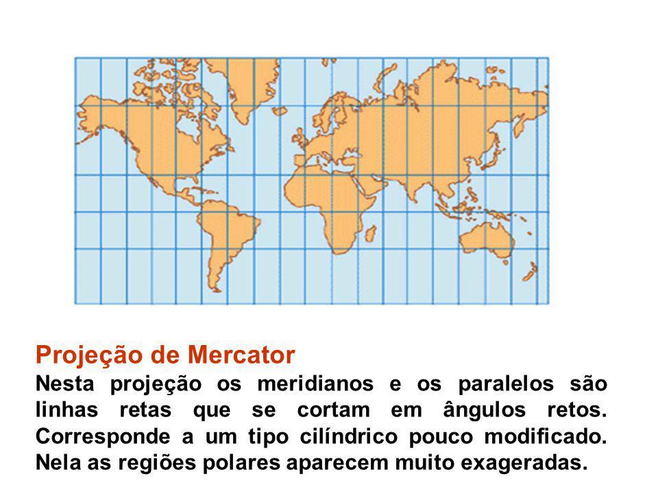 Projeção de Mercator Nesta projeção os meridianos e os paralelos são linhas retas que se cortam em ângulos retos. Corresponde a um tipo cilíndrico pou