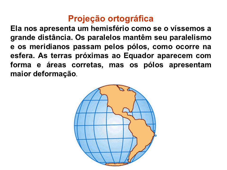 Projeção ortográfica Ela nos apresenta um hemisfério como se o víssemos a grande distância. Os paralelos mantêm seu paralelismo e os meridianos passam