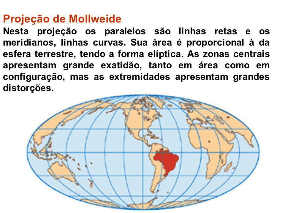 Projeção de Mollweide Nesta projeção os paralelos são linhas retas e os meridianos, linhas curvas. Sua área é proporcional à da esfera terrestre, tend