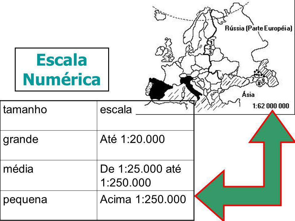 Escala Numérica tamanhoescala grandeAté 1:20.000 médiaDe 1:25.000 até 1:250.000 pequenaAcima 1:250.000