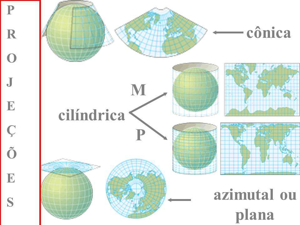 As informações cartográficas abaixo apresentam- se corretas, EXCETO: A) As projeções de Peters e Mercator são do tipo cilíndricas.