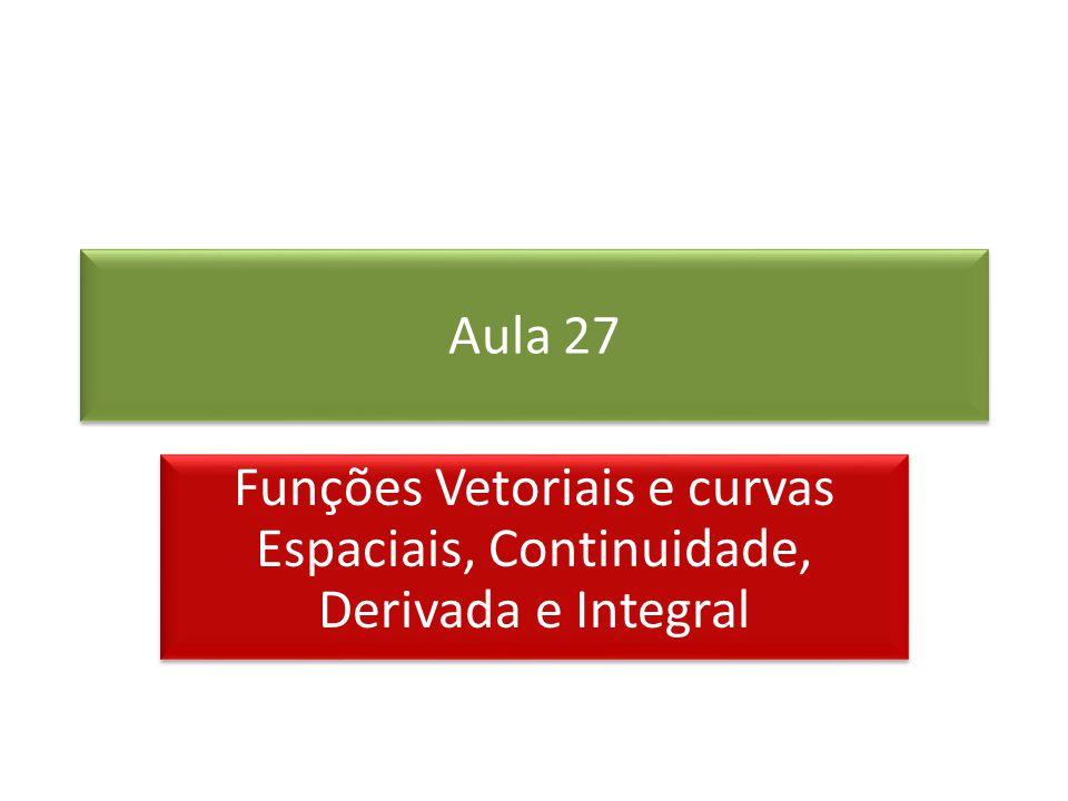 Aula 27 Funções Vetoriais e curvas Espaciais, Continuidade, Derivada e Integral