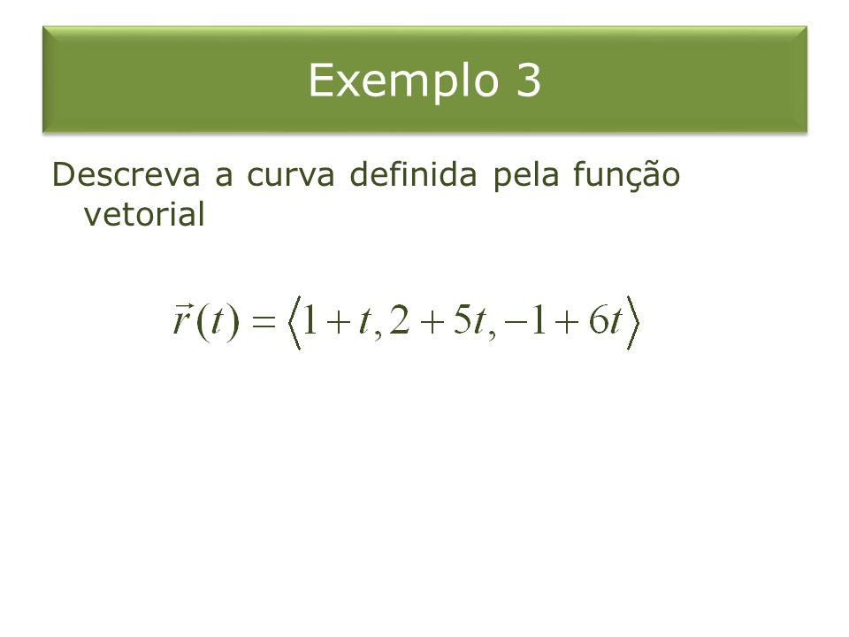 Exemplo 3 Descreva a curva definida pela função vetorial