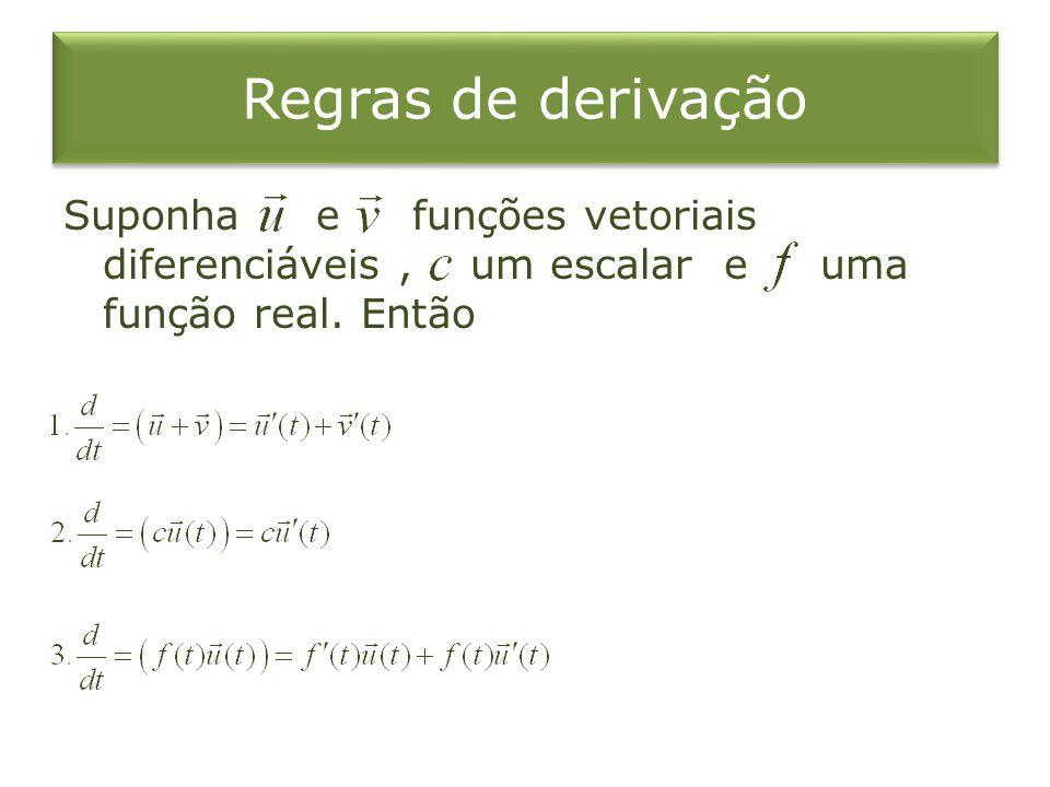 Regras de derivação Suponha e funções vetoriais diferenciáveis, um escalar e uma função real. Então