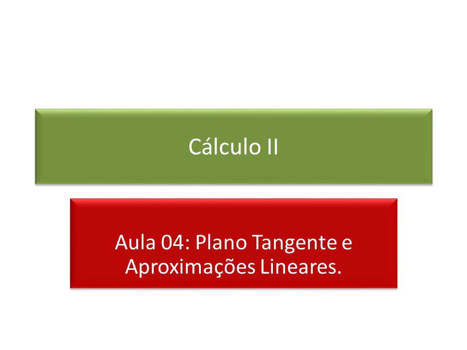 Cálculo II Aula 04: Plano Tangente e Aproximações Lineares.