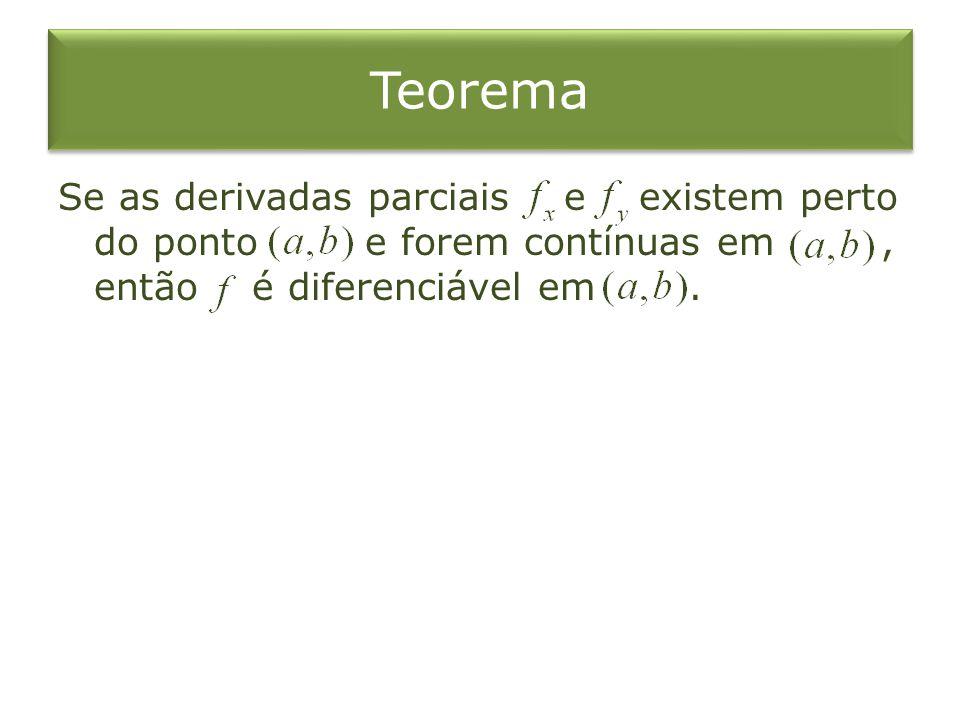 Teorema Se as derivadas parciais e existem perto do ponto e forem contínuas em, então é diferenciável em.