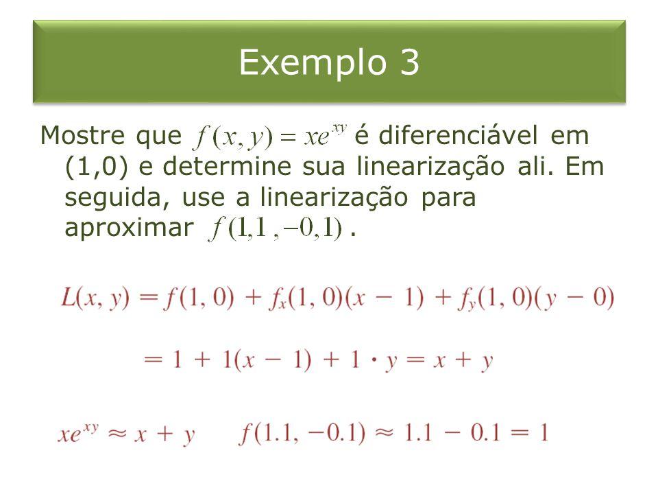 Exemplo 3 Mostre que é diferenciável em (1,0) e determine sua linearização ali. Em seguida, use a linearização para aproximar.