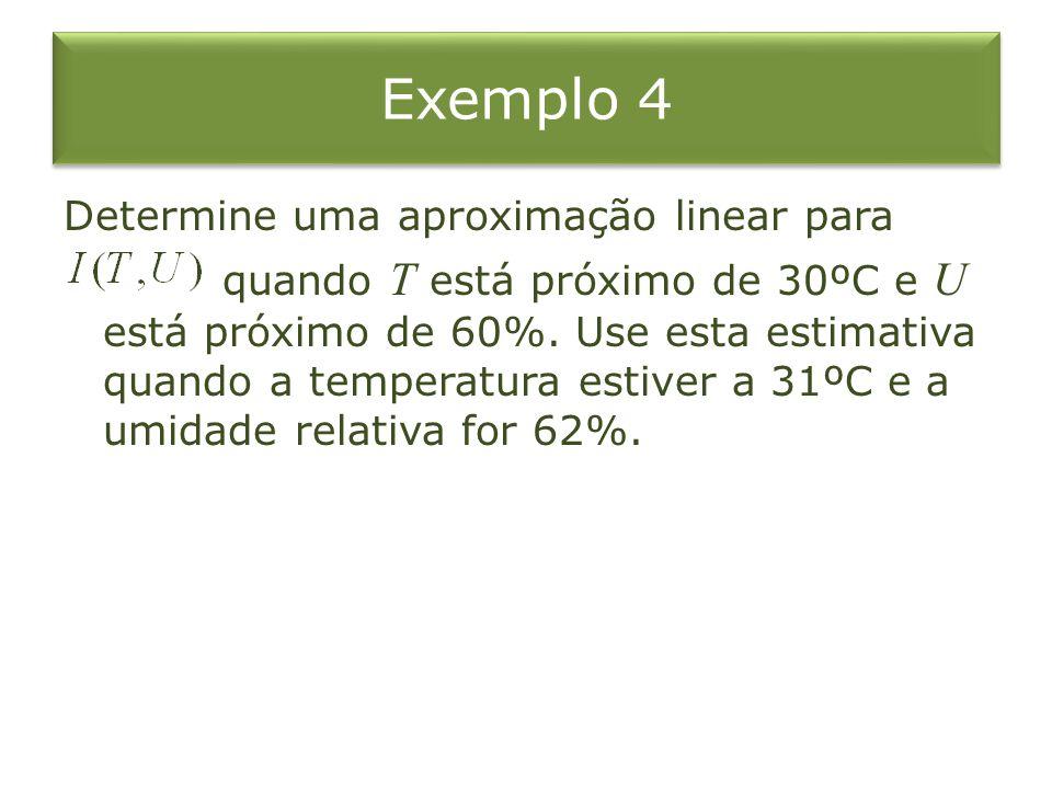 Exemplo 4 Determine uma aproximação linear para quando T está próximo de 30ºC e U está próximo de 60%. Use esta estimativa quando a temperatura estive