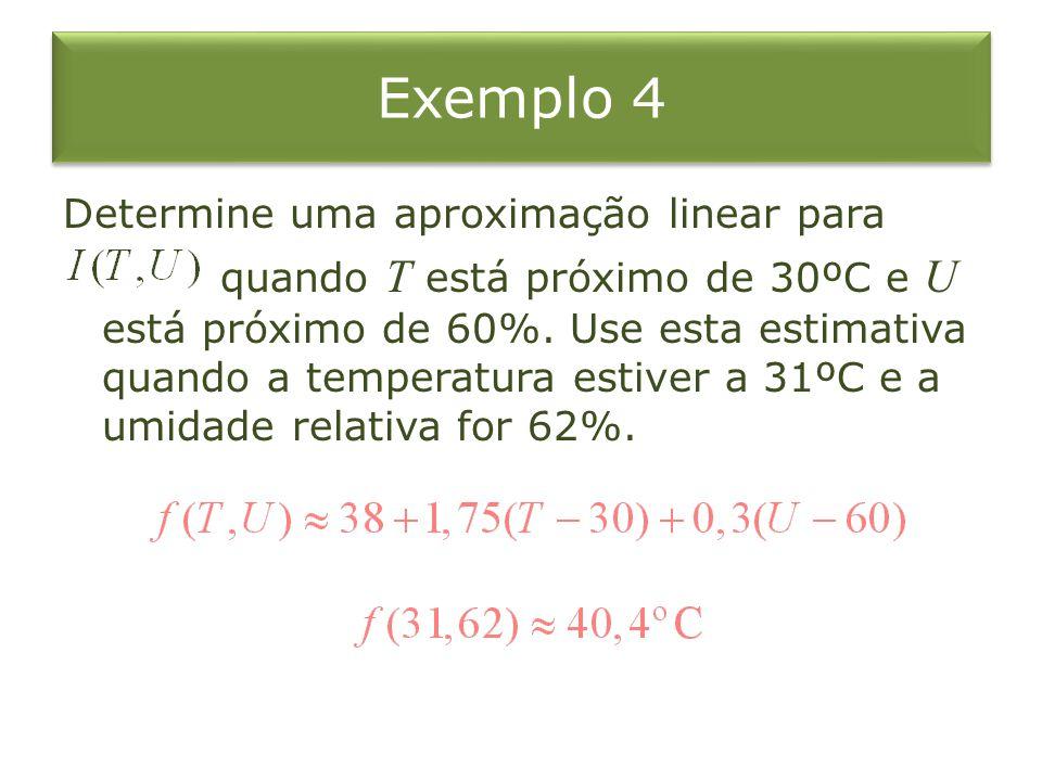 Determine uma aproximação linear para quando T está próximo de 30ºC e U está próximo de 60%. Use esta estimativa quando a temperatura estiver a 31ºC e