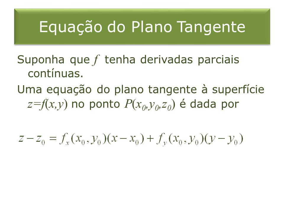 Suponha que f tenha derivadas parciais contínuas. Uma equação do plano tangente à superfície z=f(x,y) no ponto P(x 0,y 0,z 0 ) é dada por