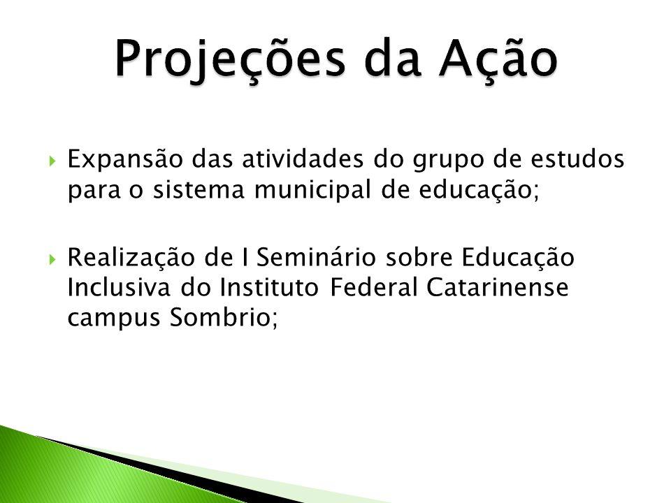 Expansão das atividades do grupo de estudos para o sistema municipal de educação; Realização de I Seminário sobre Educação Inclusiva do Instituto Fede