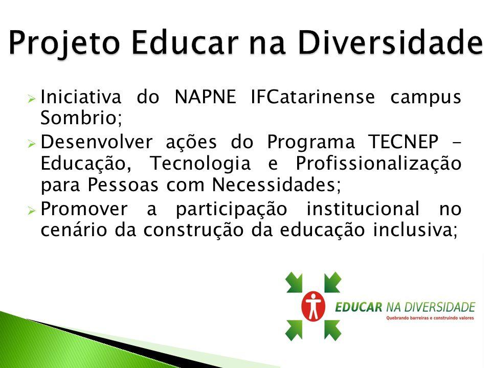 Iniciativa do NAPNE IFCatarinense campus Sombrio; Desenvolver ações do Programa TECNEP - Educação, Tecnologia e Profissionalização para Pessoas com Ne