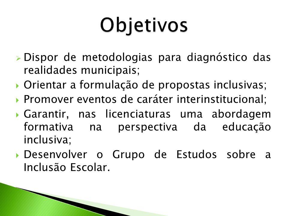 Dispor de metodologias para diagnóstico das realidades municipais; Orientar a formulação de propostas inclusivas; Promover eventos de caráter interins