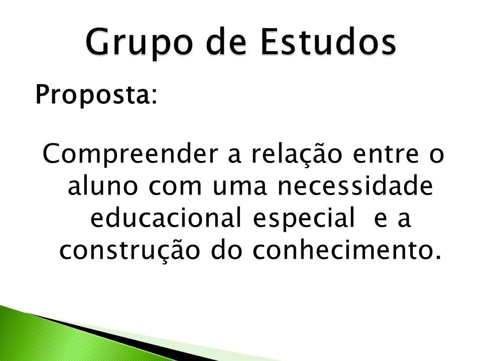 Proposta: Compreender a relação entre o aluno com uma necessidade educacional especial e a construção do conhecimento.