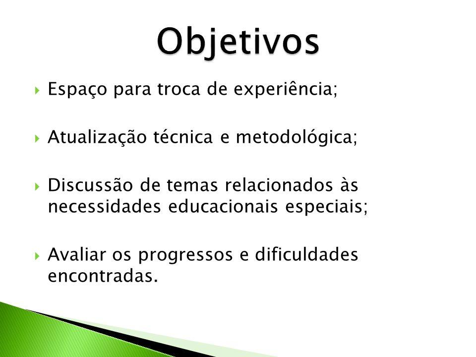 Espaço para troca de experiência; Atualização técnica e metodológica; Discussão de temas relacionados às necessidades educacionais especiais; Avaliar