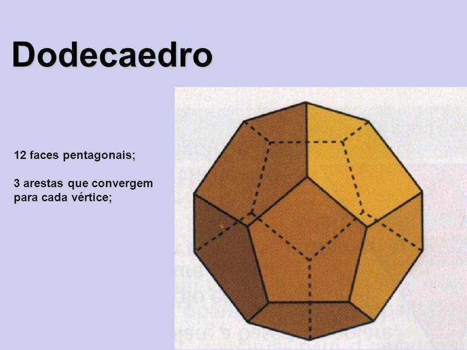 Dodecaedro 12 faces pentagonais; 3 arestas que convergem para cada vértice;