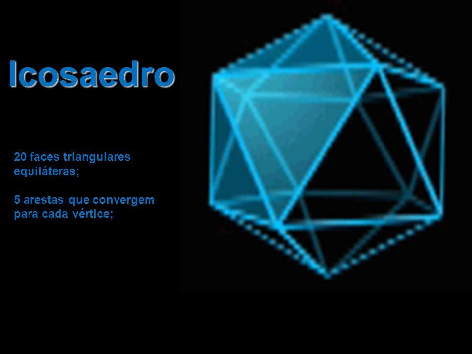 Icosaedro 20 faces triangulares equiláteras; 5 arestas que convergem para cada vértice;
