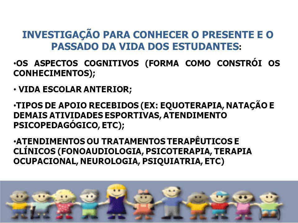 INVESTIGAÇÃO PARA CONHECER O PRESENTE E O PASSADO DA VIDA DOS ESTUDANTES : OS ASPECTOS COGNITIVOS (FORMA COMO CONSTRÓI OS CONHECIMENTOS); VIDA ESCOLAR