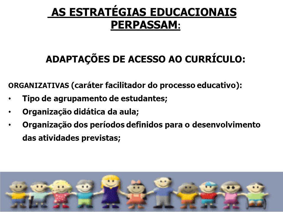 AS ESTRATÉGIAS EDUCACIONAIS PERPASSAM : ADAPTAÇÕES DE ACESSO AO CURRÍCULO: ORGANIZATIVAS (caráter facilitador do processo educativo): Tipo de agrupame