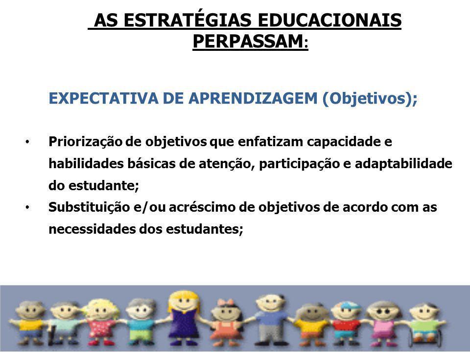 AS ESTRATÉGIAS EDUCACIONAIS PERPASSAM : EXPECTATIVA DE APRENDIZAGEM (Objetivos); Priorização de objetivos que enfatizam capacidade e habilidades básic