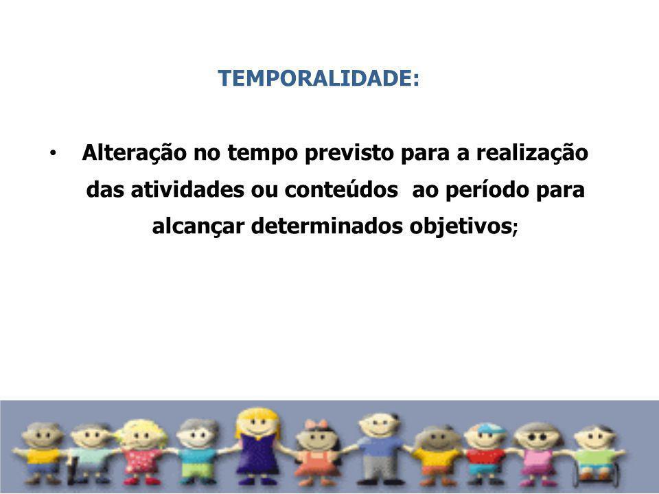 TEMPORALIDADE: Alteração no tempo previsto para a realização das atividades ou conteúdos ao período para alcançar determinados objetivos ;